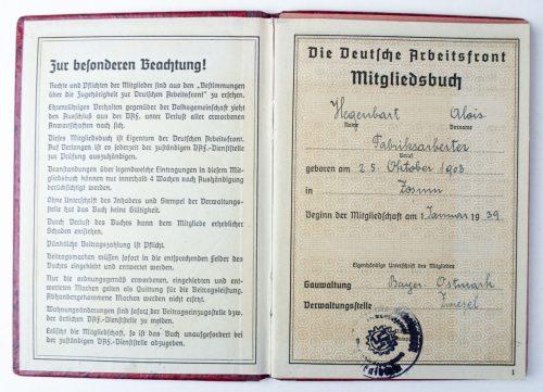 Deutsche Arbeitsfront (DAF) mitgliedsbuch + contributioncard