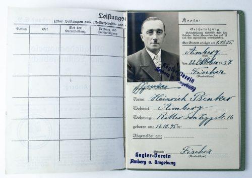 Deutscher Reichsbund für Leibesübungen ausweis mitgliedsausweis und Leistungsbuch Keglerbund- 1