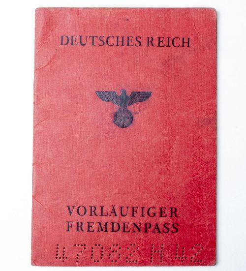 Deutsches reich Vorläufiger Fremdenpass 1