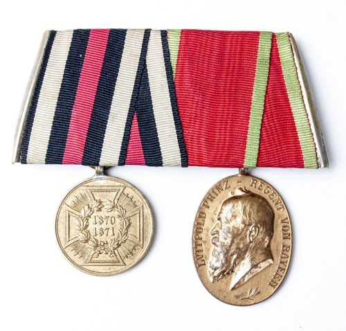 German ordenspange - Bayern luitpoldmedaille + 1871 Kriegsdenkmünze-1