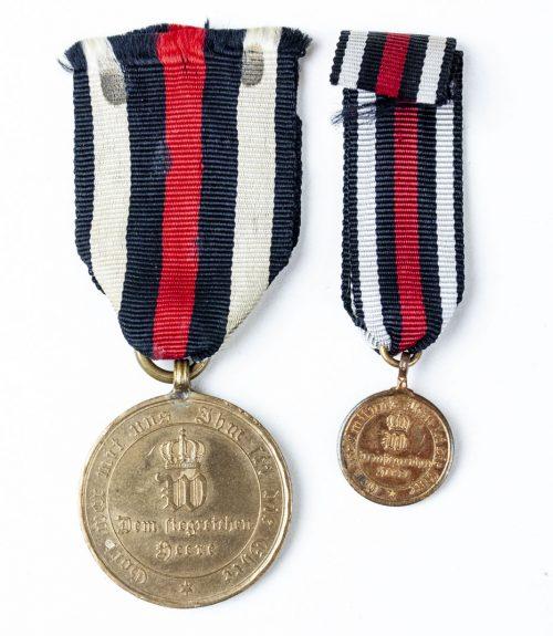 Kriegsdenkmünze für die Feldzüge 187071 + miniature - 1