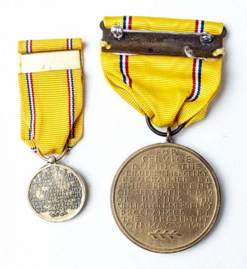WWII US ARMY AMERICAN DEFENSE MEDAL (USA) + miniature