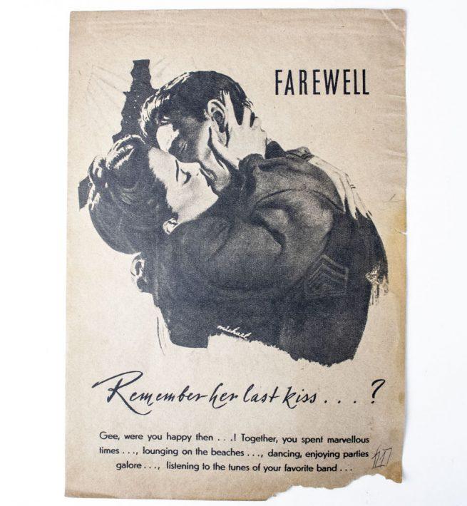 Leaflet flugblatt propaganda strooibiljet Farewell, remember her last kiss...