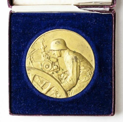 Pak Geschütz Preisrichten 1927 medal in gold (in case)