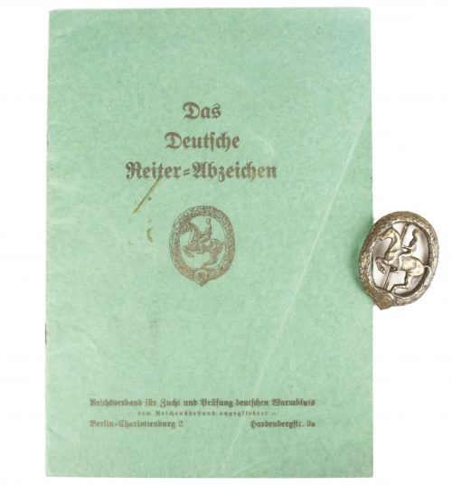 WWII German Reiterabzeichen + citation booklet