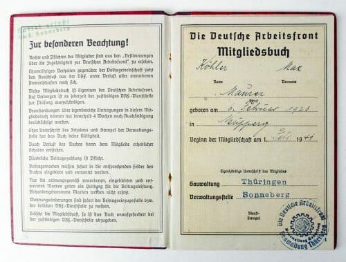 Deutsche Arbeitsfront (DAF) mitgliedsbuch + workers diploma booklet