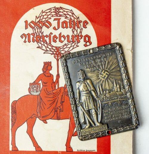 Jahrtausendfeier Merseburg 1933 König Heinrich I plaque + Festschrift