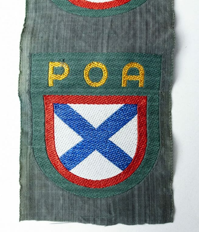 "Two POA Russian Liberation Army ""Eastern Volunteer"" Wehrmacht arm patches"