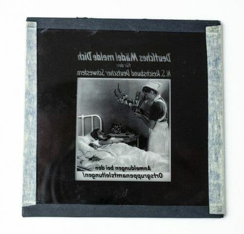 Cinema glass slide N.S. Reichsbund Deutsche Schwestern