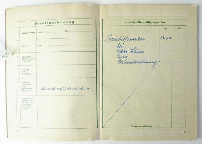 Deutsches Reich Arbeitsbuch für Ausländer with passphoto