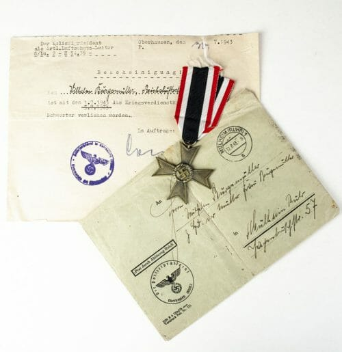 "Kriegsverdienst ohne Schwerter Maker marked ""107"" (War Merit Cross without Swords) with papers"