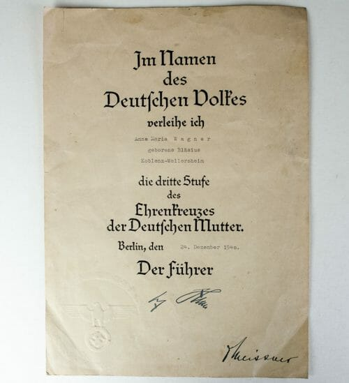 Mutterkreuz / Motherscross bronze citation 24 december 1940