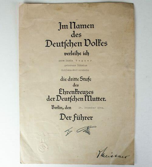 Mutterkreuz / Motherscross bronze citation 24 december 1940