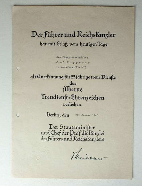 Two citations (urkunden) from the same man: Gold and Silver Treue Dienste crosses 1941