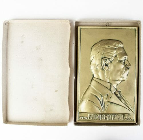 Paul von Hindenburg plaque + case