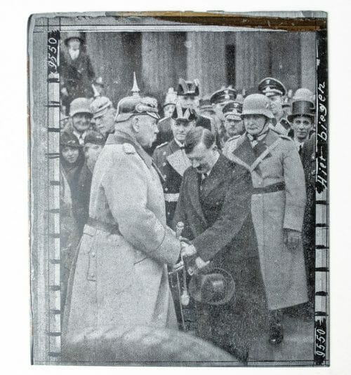 Adolf Hitler original newspaper photo printing plate of his appointment to Chancellor in 1933 by Paul von Hindenburg