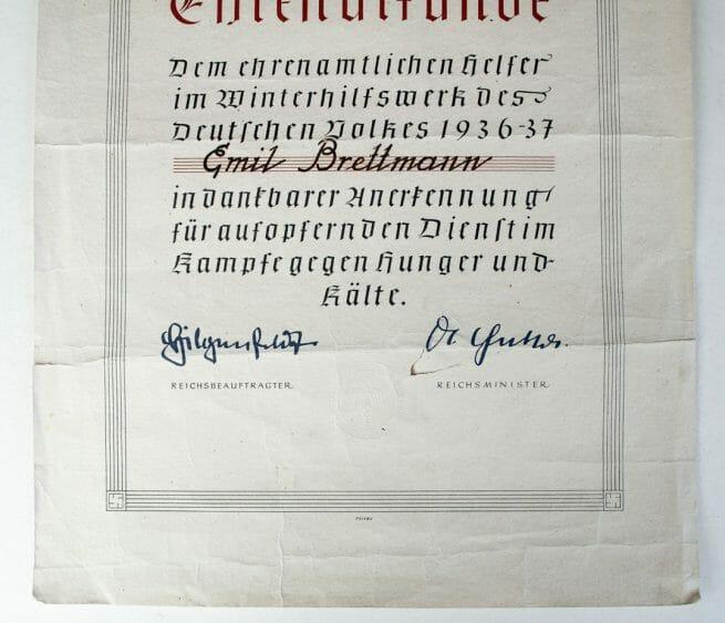 Ehrenurkunde Ehrenamtlichen Helfer im Winterhilfswerk (WHW) 1937 citation