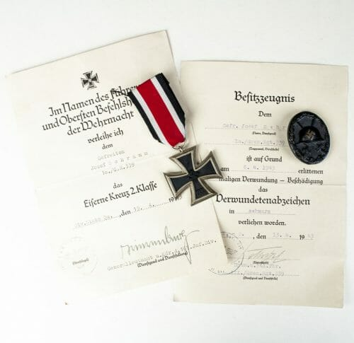 Iron Cross and Woundbadge group from a Charkov soldier with citations signed by general Wolf Trierenberg