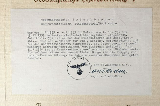 Kriegsverdienstkreuz (KVK) citation map with two citations, awarded for actions during the invasion of Poland in september 1939