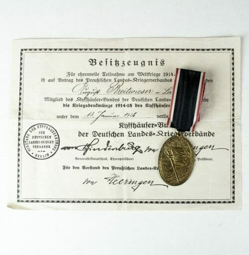 Kyffhäuserbund Kriegsdenkmünze 1914 - 1918 with citation