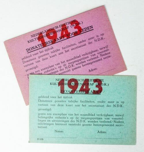 NSB / N.D.K Nederlandsch Duitse Kulturgemeenschap Donateurskaarten