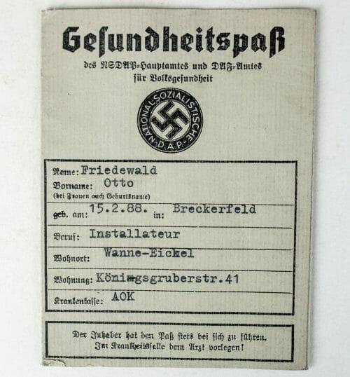 NSDAP Gesundheitspass 1939