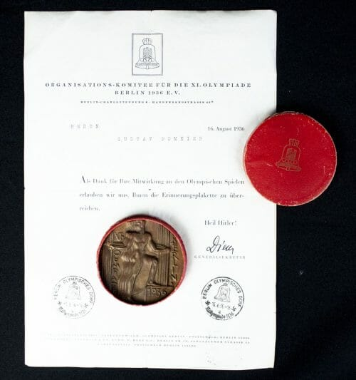 Olympia 1936 cased Commemorative plaque for associates with the extremely rare document!
