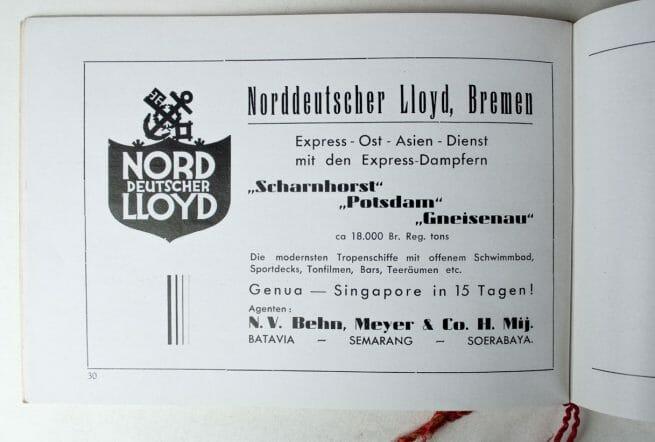 """Programm booklet Kreuzer """"Karlsruhe"""" 1936 in Batavia (East Indies) Nederlandsche Siemens Maatschappij N.V."""