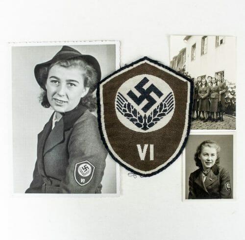 """Reichsarbeitsdienst weibliche Jugend (RADwJ) Ärmelschild """"VI"""" + owners photo's"""