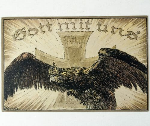 WWI postcard 1914 Gott Mit Uns (Iron cross and German eagle).