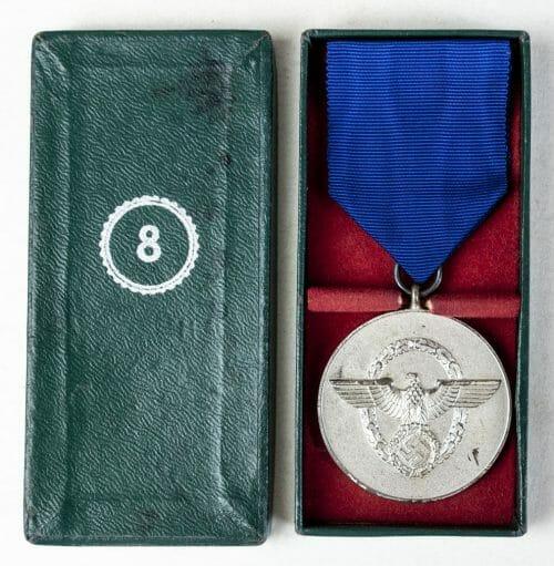 German Polizei medaille Treue Dienste 8 Jahre in etui