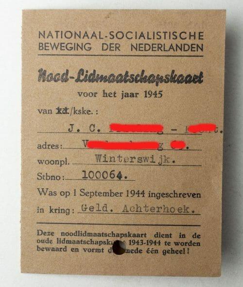 NSB Nood-Lidmaatschapskaart voor het jaar 1945 Winterswijk