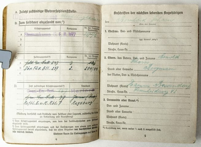 Soldbuch deceased Wehrmacht soldier to his parents, with original rare postal enveloppe