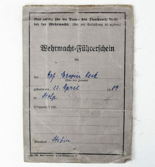 Wehrmacht Führerschein (Drivers Licence) with photo
