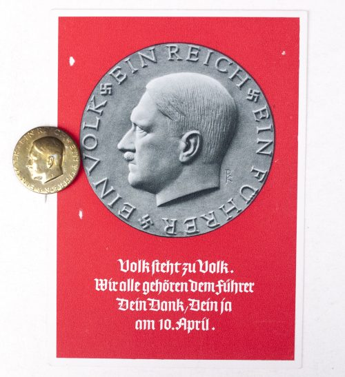 "Adolf Hitler election button and postcard ""Ein Volk, Ein Reich, Ein Führer"""