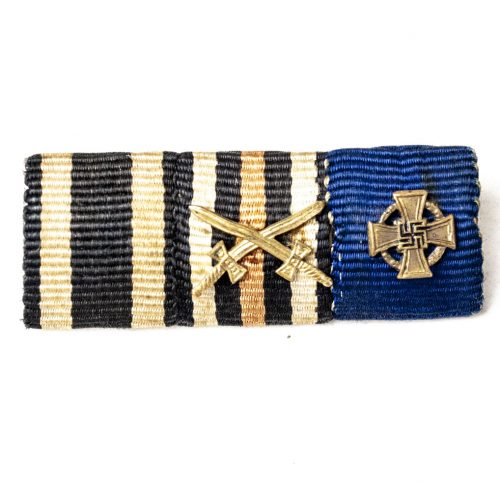 Feldspange / Ribbon with Iron Cross, Frontkämpferkreuz and Treue Dienst 25 Jahre cross