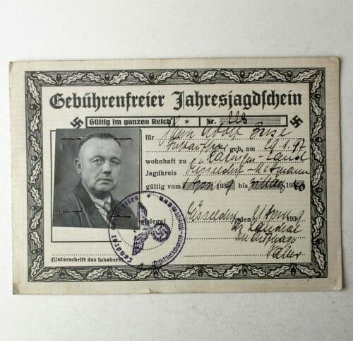 Gebührenfreier Jahresjagdschein 1940 with passphoto (huntinglicence)