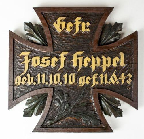 Gefreiter Josef Heppel commemorative cross / grave cross