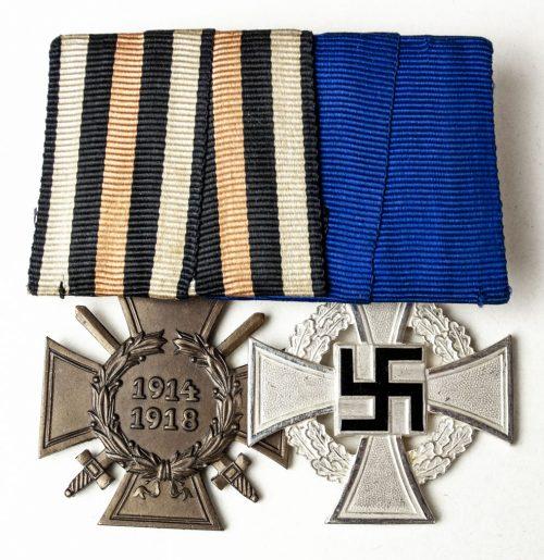 German WWII double medalbar with Treue Dienst 25 jahre + Frontkämpfer Ehrenkreuz