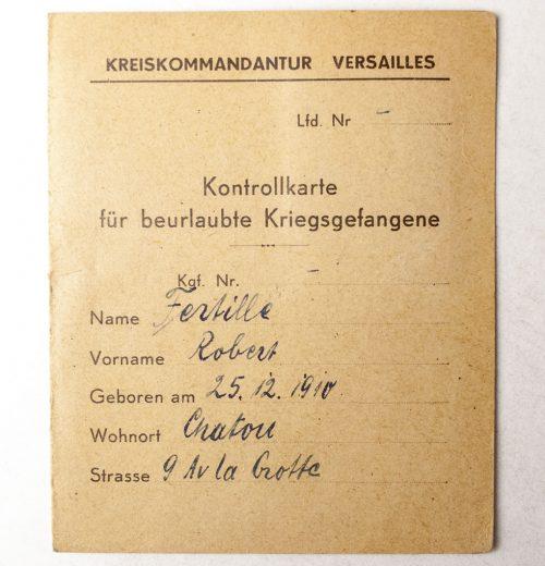 Kreiskommandatur Versailles Kontrollkarte für beurlaubte Kriegsgefangene 1944 (with passphoto)