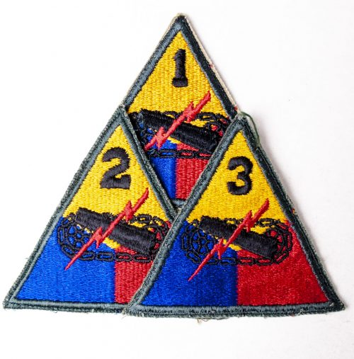 USA Armored Division patches, with numbers : 1, 2, 3