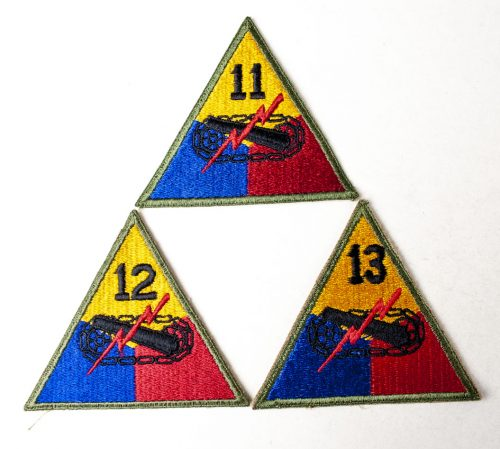 USA Armored Division patches, with numbers : 11, 12, 13