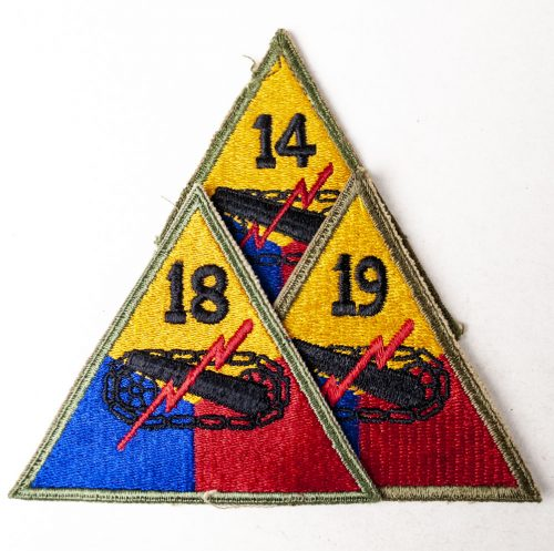 USA Armored Division patches, with numbers : 14, 18, 19