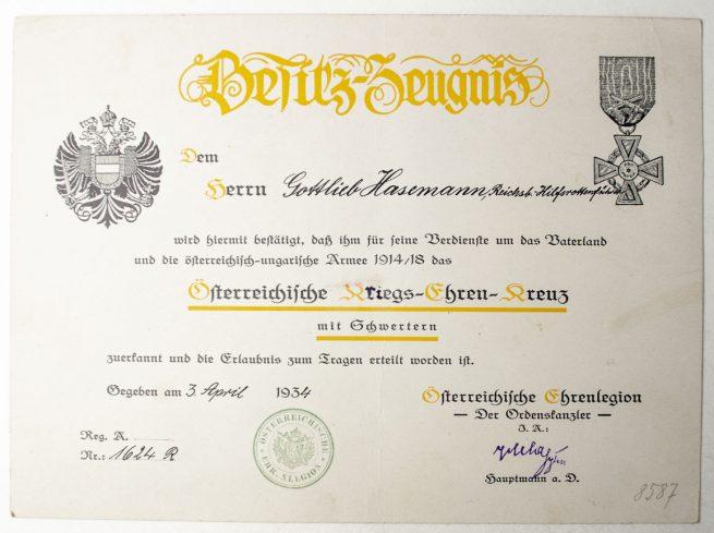 WWI Österreichische Kriegsehrenkreuz citation + cross with swords