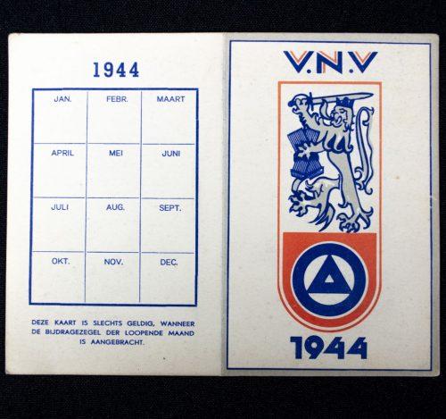 Belgian VNV (Vlaamsch Nationaal Verbond) 1944 Memberpas 6
