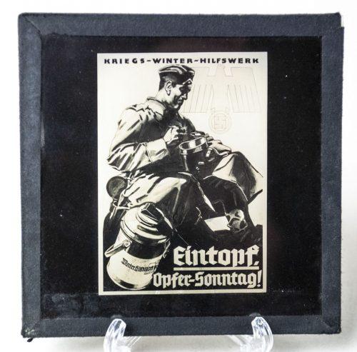 Cinema glass slide: Kriegs Winterhilfswerk Eintopf Opfer Sonntag
