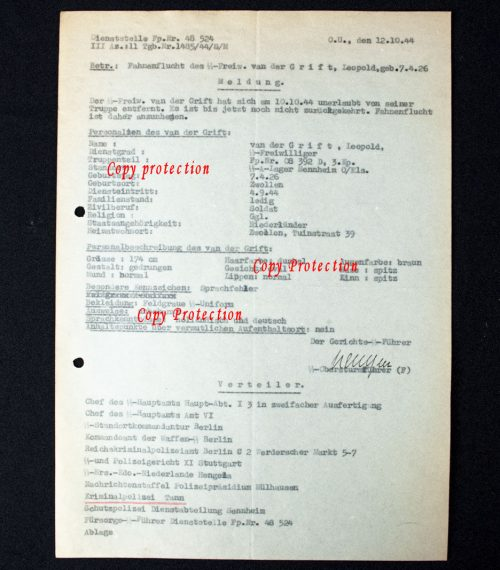 Dutch Waffen-SS Volunteer Fahnenflucht warrant document from SS-Ausbildungslager Sennheim 1-2