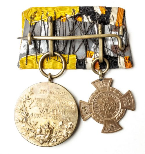 Prussian imperial medalbar with Erinnerungskreuz 1866 Königgrätz and 1987 Centenary medal