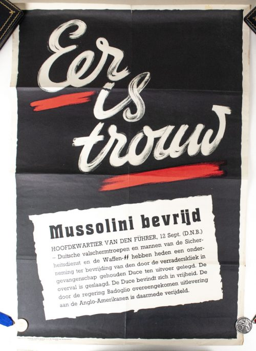 Waffen SS / Dutch SS poster - Eer is Trouw (about the liberation of Mussolini by Otto Skorzeny)