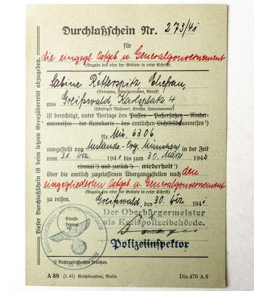 Durchlass-schein Generalgouvernement 1942